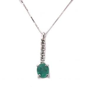 Ciondolo mini fiammifero oro, smeraldo
