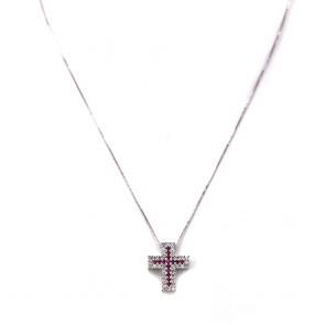 Ciondolo croce oro, diamanti - 0.55-0.65 ct - e rubini -  0.35-0.40 ct- 1.8 cm x 1.5 cm; 4.7 gr.