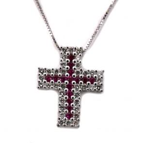 Ciondolo croce oro, diamanti - 0.55-0.65 ct - e rubini