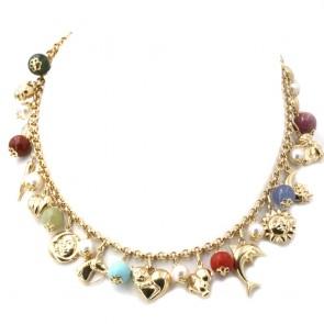 Collana charms, oro, pietre dure e perle