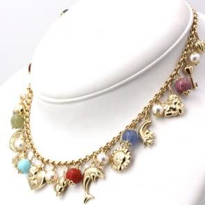 Collana charms, oro, pietre dure e perle - 40 cm; 41 gr