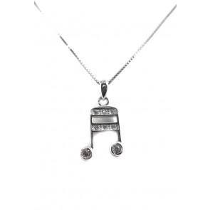 Ciondolo nota musicale argento e zirconi