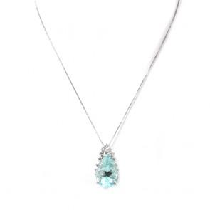Ciondolo capolavoro oro, maxi goccia acquamarina -13 ct- e diamanti -0.90 ct- 3 cm x 1.4 cm; 7.68 gr.