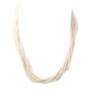 Collana torchon multifilo micro perle e maschera oro e diamanti