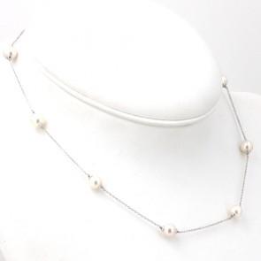 Collana catena in oro con perle giapponesi intercalate da 7-7.5 mm - 42 cm; 6.7 gr