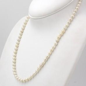 Collana da 56 cm di perle giapponesi - 6.5 mm- chiusura oro; 28.8 gr