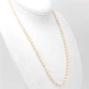 Collana da 62 cm di perle giapponesi - 4-8 mm- chiusura in stile oro e smeraldo; 28.95 gr