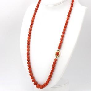 Collana di corallo rosso salmonato, barilotti lisci a scalare -7-14 mm - e oro - 93.9 gr; 80 cm