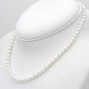Collana da 45 cm di perle AD - 6 mm- e argento; 22.5 gr