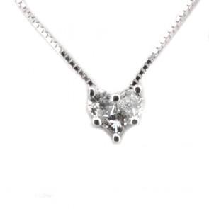 Ciondolo punto luce cuore oro e 3 diamanti