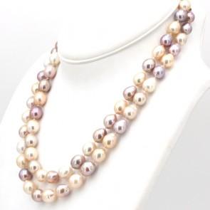 Collana doppio filo di perle multicolor baroccate-da 8-15 mm- e oro - 50 cm filo interno; 132 gr