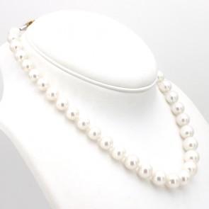 Collana girocollo di perle australiane - 10-14 mm, oro bicolore e diamanti -0.10-0.15 ct- 44 cm; 78.9 gr