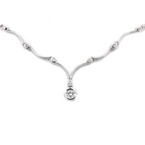 Collana girocollo Re Carlo oro e diamanti con solitario centrale