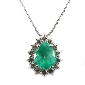 Ciondolo goccia oro, smeraldo e diamanti