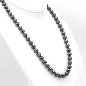 Collana di ematite, boulle 10 mm - e argento.  154.6 gr; 60 cm