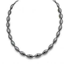 Collana di ematite, olive e argento