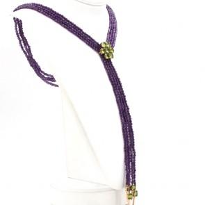 Collana multifilo oro, ametista e peridoti - 88 cm; 85.8 gr