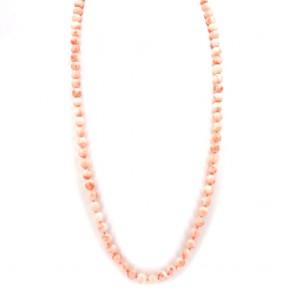 Collana di corallo rosa, sferico e oro