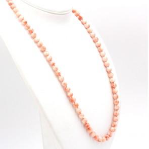 Collana di corallo rosa, sferico - 9 mm - e oro - 102.8 gr; 96 cm