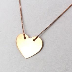 Ciondolo lastra cuore oro rosa con catenina; 2 gr