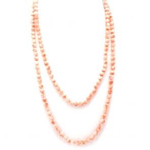 Collana endless di corallo rosa, sferico
