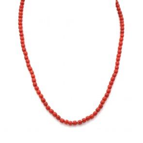 Collana corallo rosso, barilotti 5 mm e argento