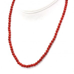 Collana corallo rosso, barilotti 5 mm e argento - 19.21 gr; 50 cm