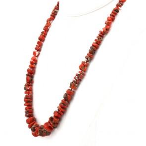 Collana corallo rosso etnico, a scalare 6-17 mm e argento - 95.5 gr; 65 cm