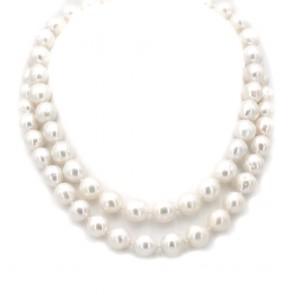 Collana girocollo doppio filo di perle australiane