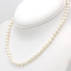 Collana da 44 cm di perle giapponesi - 6.5-7 mm- chiusura oro; 33.3 gr