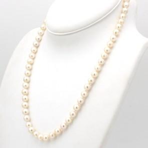 Collana da 57 cm di perle giapponesi - 8.5-9 mm- chiusura fiocco oro; 57.8 gr
