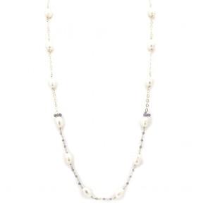 Collana modello catena alternata da 74 cm, argento, perle AD
