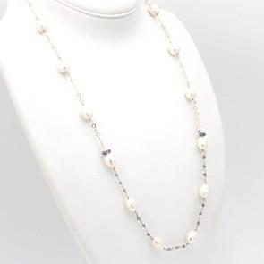 Collana modello catena alternata da 74 cm, argento, perle AD - 10-12 mm- e iolite; 35.37gr