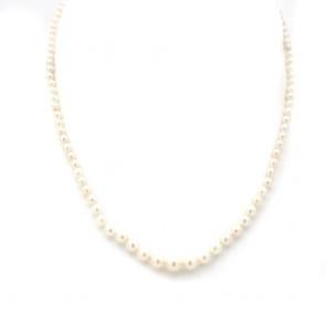 Collana da 40 cm di perle giapponesi - 7 mm- chiusura in stile argento