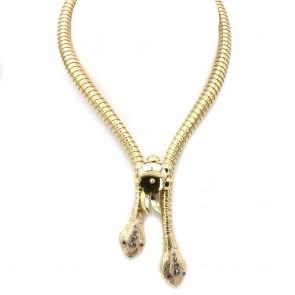 Collana catena antica doppia testa maxi serpenti semirigida