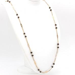 Collana catena losanghe oro e granato - 30.2 gr; 90 cm