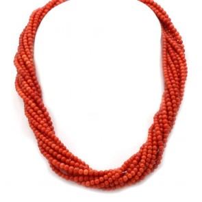Collana torchon a 10 fili di corallo rosso, microboulle