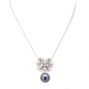 Ciondolo oro, maxi perla australiana, tinta -15 mm - con fiocco di diamanti -0.90 ct; 14.26 gr