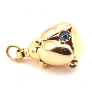 Ciondolo charm in oro e zaffiri -5.73 gr.