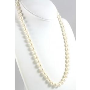 Collana perle d'acqua dolce bianche e oro - 65 cm