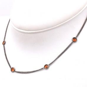 Collana catena oro nero e quarzi citrini - 6.7 gr; 42 cm