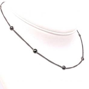 Collana catena oro nero e diamanti neri - 6.5 gr; 42 cm