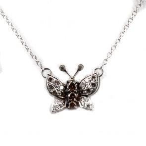 Ciondolo farfalla oro e diamanti bianchi e brown