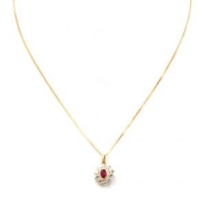 Ciondolo oro a margherita con rubino di sintesi e zirconi; 1.98 gr