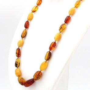 Collana ambra tricolore, sassi 17-30 mm e argento. 72 cm; 49 gr