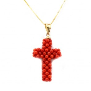Ciondolo croce  corallo tessito e oro