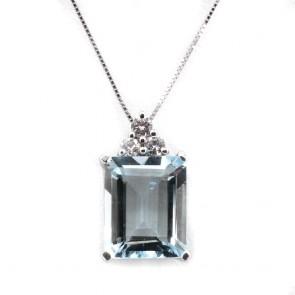 Ciondolo oro rettangolo acquamarina e diamanti