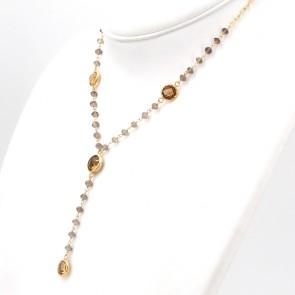 Collana catena oro, topazi citrini e quarzi fumè - 9.9 gr; 44 cm + 7 cm di pendente
