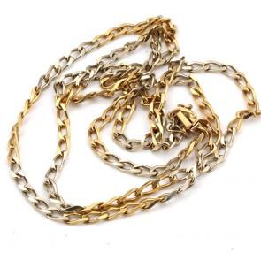 Collana catena uomo oro bicolore, maglia groumette - 80 cm; 36 gr