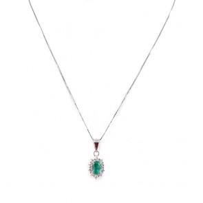Ciondolo margherita oro, smeraldo -0.60 ct- e diamanti -0.22 ct- 1.9 cm x 0.8 cm - 44 cm; 2 gr